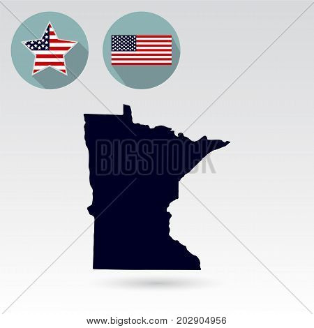 Map of the U.S. state of Minnesota on a white background. American flag star