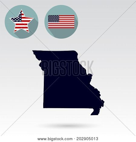 Map of the U.S. state of Missouri on a white background. American flag star