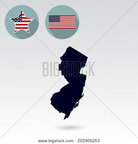 Map of the U.S. state of New Jersey on a white background. American flag star