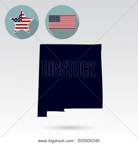 Map of the U.S. state of New Mexico on a white background. American flag star