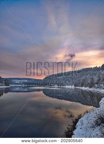 Winter at Oker Reservoir in Harz mountain,Germany