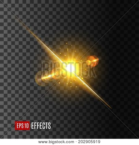 Sun or star light flash icon on transparent background. Vector isolated light beam or shining ray with lens flare or gleaming bokeh glare effect of sparkling or glittering light of twinkle star