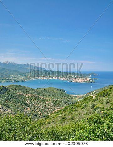 View to Gulf of Portoferraio on Elba,Tuscany,mediterranean Sea,Italy