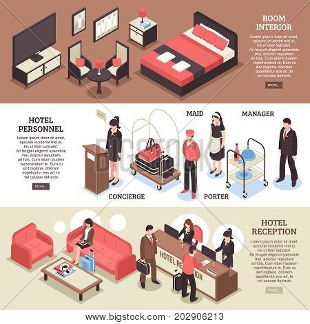 Three horizontal isometric hotel horizontal banner set with room interior hotel personnel and reception descriptions vector illustration