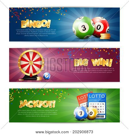 Set of three lottery horizontal banners with bulletin tickets bingo balls drawing machine and editable text vector illustration