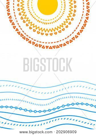 Sun and the sea doodle poster template, vector background