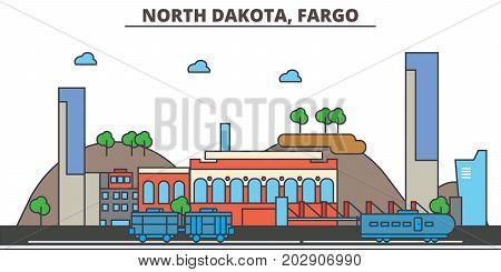North Dakota, Fargo.City skyline: architecture, buildings, streets, silhouette, landscape, panorama, landmarks. Editable strokes. Flat design line vector illustration concept. Isolated icons