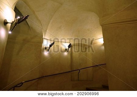 Historical Round Spiral Staircase With Illumination