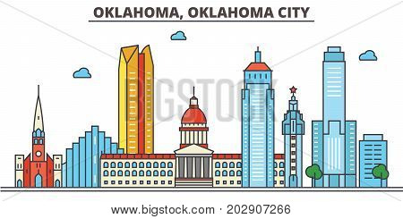 Oklahoma, Oklahoma City.City skyline: architecture, buildings, streets, silhouette, landscape, panorama, landmarks. Editable strokes. Flat design line vector illustration concept. Isolated icons