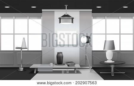 Realistic loft interior 3d design in grey tones with large windows, floodlight, stand and table vector illustration