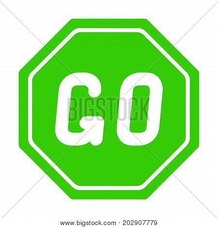 Road sign GO on white background. Vector illustration.