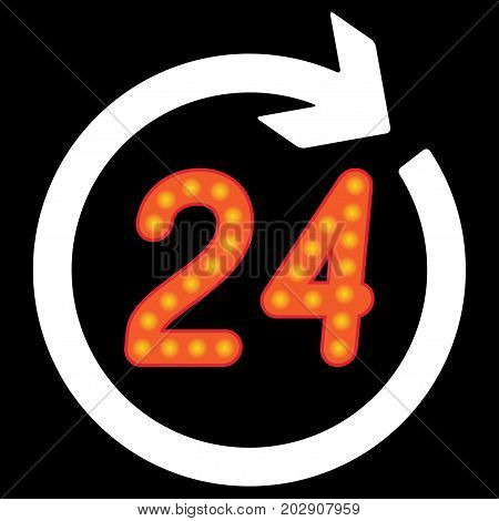 Number 24 in the circular arrow. Vector illustration.