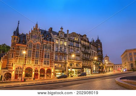 Brussels Night City Skyline At Coudenberg Street, Brussels, Belgium