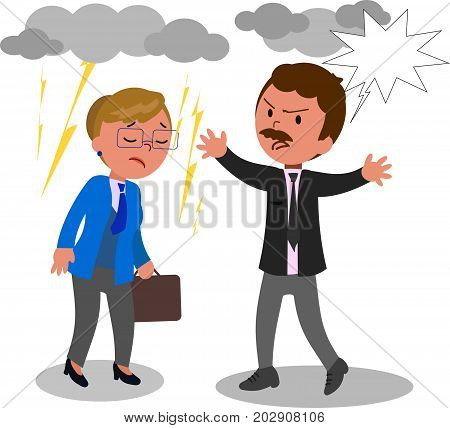 Two angry business man and woman arguing, vector illustration