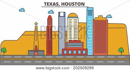 Texas, Houston.City skyline: architecture, buildings, streets, silhouette, landscape, panorama, landmarks. Editable strokes. Flat design line vector illustration concept. Isolated icons