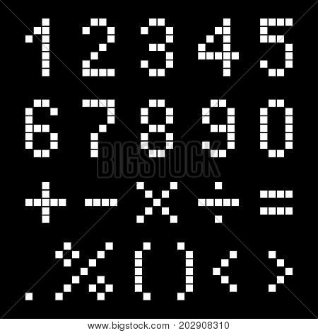 Numbers and mathematical signs from pixels. Vector illustration.