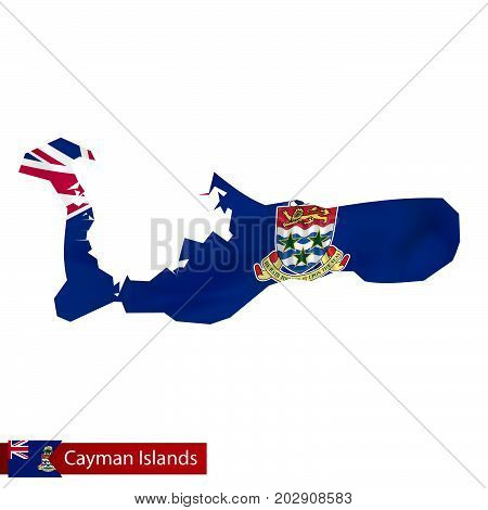 Cayman Islands Map With Waving Flag Of Country.