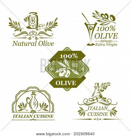 Olive oil icons set of green olives on branches. Vector isolated set of extra virgin olive oil in bottles and jars for organic natural product label templates of Italian cuisine