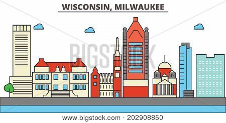 Wisconsin, Milwaukee City.City skyline: architecture, buildings, streets, silhouette, landscape, panorama, landmarks. Editable strokes. Flat design line vector illustration concept. Isolated icons