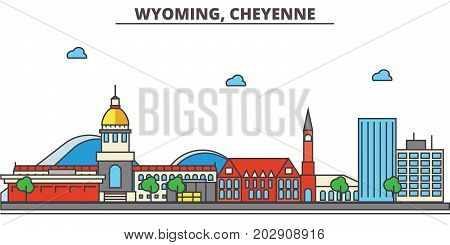 Wyoming, Cheyenne.City skyline: architecture, buildings, streets, silhouette, landscape, panorama, landmarks. Editable strokes. Flat design line vector illustration concept. Isolated icons