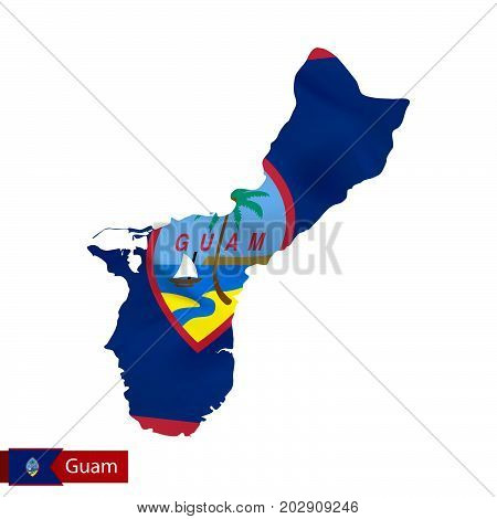 Guam Map With Waving Flag Of Country.