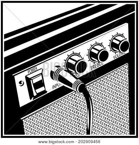 Stylized vector illustration of a guitar amplifier
