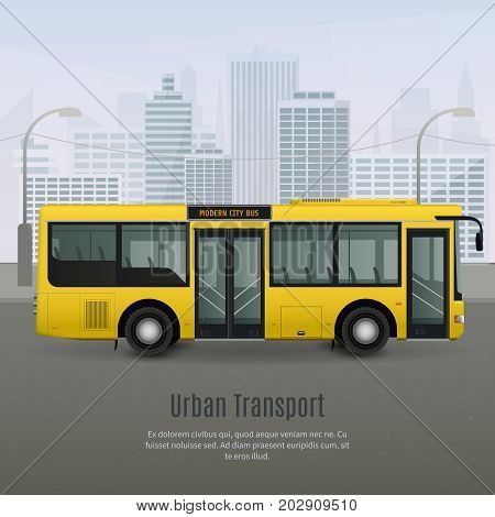 Realistic modern yellow city bus with light glass tinting on grey background with urban landscape vector illustration