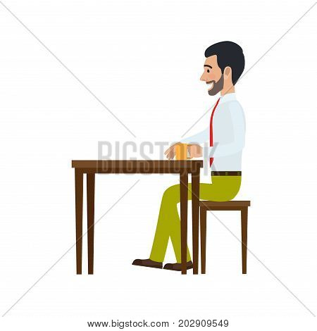 Man sitting at table on chair and drinking tea side view. Man at endless work seven days a week. Working moments at office. Vector illustration of sitting person with mug isolated on white background