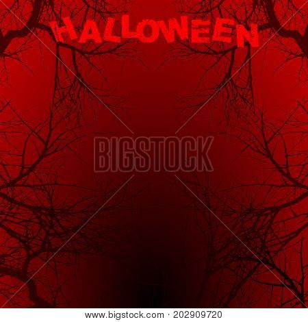 Halloween Red and Black Background Copy Space with Creepy Branches and Decorative Text