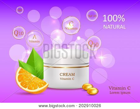 Natural cream with Vitamin A and C. Coenzyme energizer 20. Cream bank beside colored stones on purple background with signs. Advertisement of natural cosmetic tools. Means for skin care vector