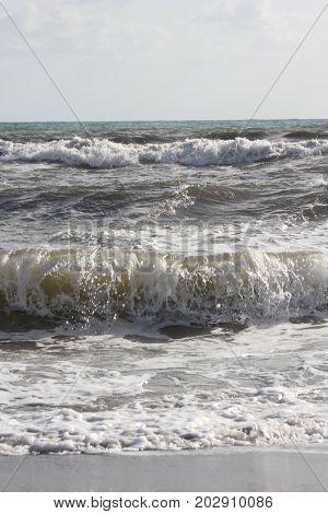 Rough seas in Marina di Massa Versilia Italy