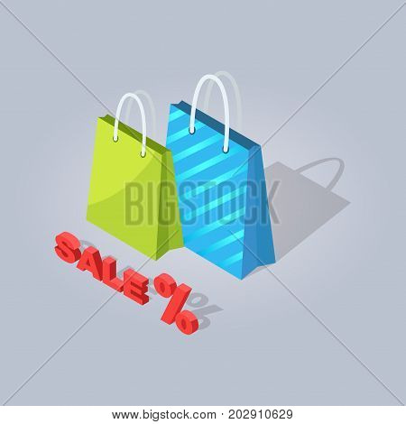 Sale promotion picture with striped blue and green shopping bags isolated on grey background with red sign. E commerce advertising vector illustration. Big discount for Internet shops products.