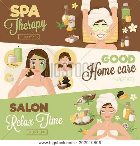 Set of three woman morning routine banners with facial images girl characters and read more button vector illustration
