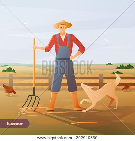 Farmer in overalls and hat with pitchfork and dog at paddock for chicken flat composition vector illustration
