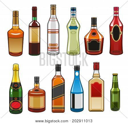 Alcohol drinks bottles icons. Vector isolated set of whiskey, champagne or sparkling vine and gin with vermouth or brandy liquor, party beverages rum, tequila or cognac and vodka bottle