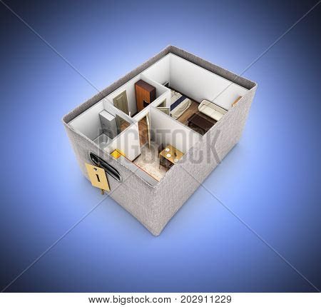 Interior Apartment Roofless Apartment Layout Inside The Box Concept Of Buying A Home Or Moving On Da