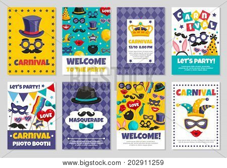 Flat set of carnival photo booth party invitation banners with various accessories for masquerade isolated vector illustration