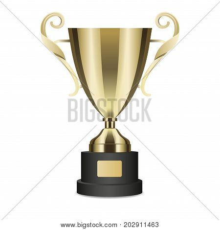 Golden shiny trophy cup with curly handles isolated on white background. Tournament first place prise vector illustration. Standard design of metal goblet. Award for outstanding achievement.
