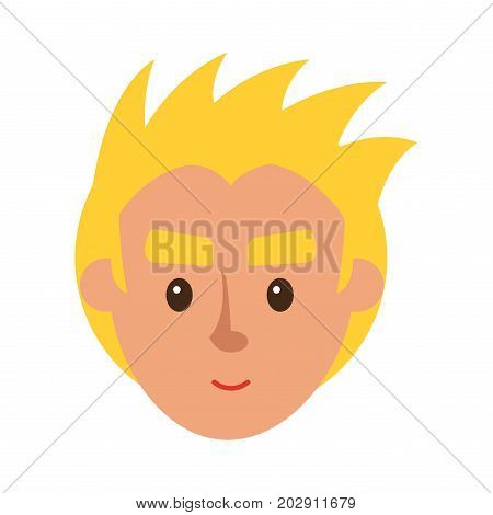 Smiling blond man character face icon. Boy cartoon full face portrait flat vector isolated on white background. Human head with positive emotions illustration for people infographics, web design