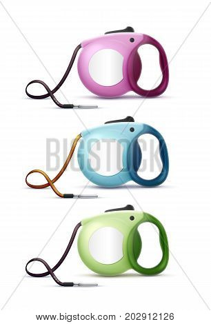 Vector colored automatic retractable leashes for pet isolated on white background