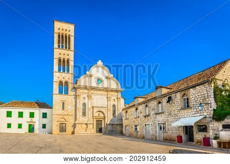 Scenic view at largest square in Dalmatia region and cathedral of Hvar island, croatian famous travel places.