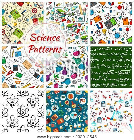 Science seamless patterns. Vector set of study appliances and scientific books, biology DNA in microscope, astronomy planet globe or chemistry beaker and mathematics or geometry formula and atom ruler