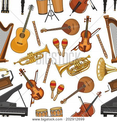Musical instruments seamless pattern. Vector music notes for piano, guitar or harp and jazz saxophone, orchestra violin fiddle or contrabass and maracas, drums for folk concert or live music festival