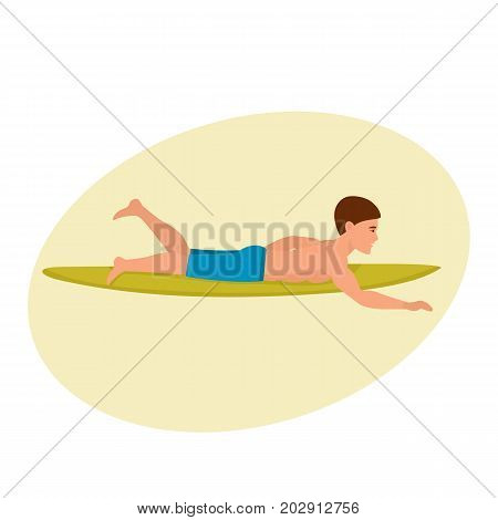 Summer vacation on the sea and the beach. Man swims on the surfboard, rowing his hands, lying on his stomach. Man on surfing vacation. Character person. Vector illustration isolated in cartoon style.