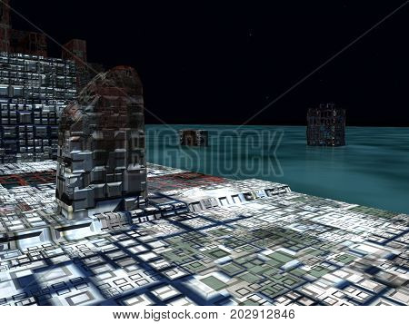 Alien City - fantasy urban structures 3d rendering