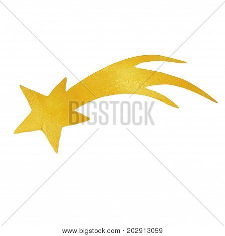 Christmas star painted with decorative brilliant golden paint. Star of Bethlehem christmas symbol on isolated white background. Golden brush stroke.