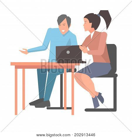 Customer development in startup young company. Male and female asian appearance sitting at table and discuss matters of partnership with open notebook. Vector illustration of startups set.