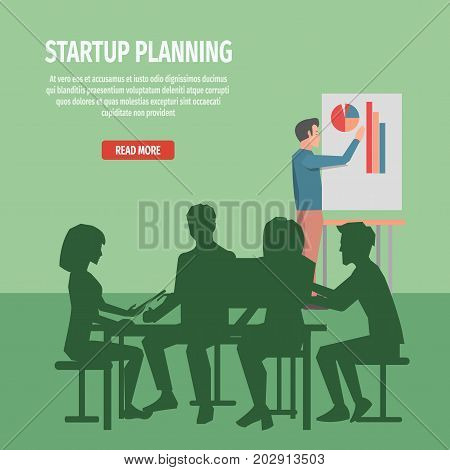 Startup planning with whole team at round table and with statistic chart board. Startup internet page with instructions vector illustration. Characters dark silhouettes during project discussion.