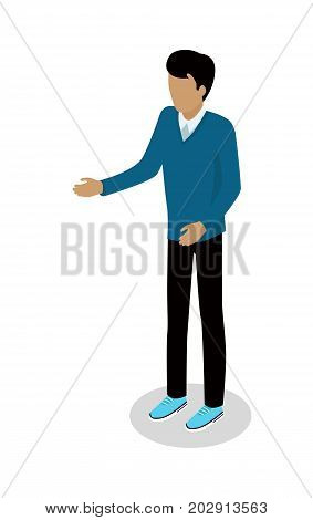 Brunette man in casual clothing isometric projection vector isolated on white. Faceless male figure in sweater and sneakers standing with outstretched hand 3d illustration for icons or web design