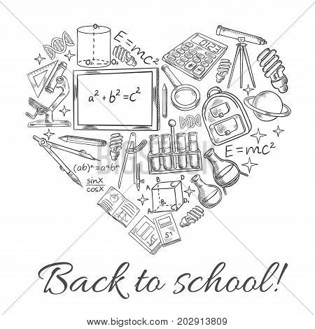 Back to School sketch poster in heart shape. Vector school blackboard, lesson books and study supplies or stationery of rucksack, geography globe or geometry ruler and microscope for september time